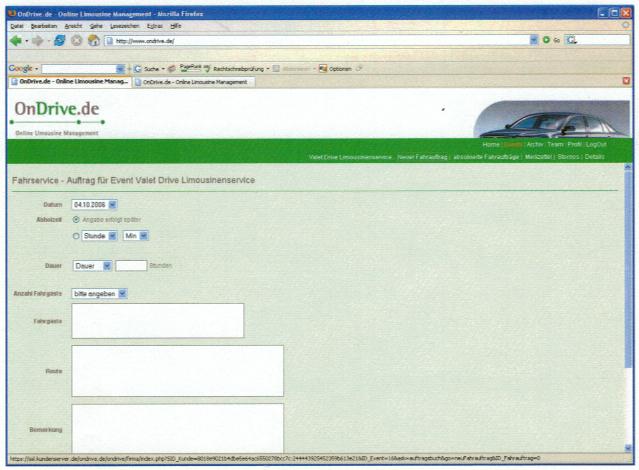 Screenshot der Maske Fahrauftrag erstellen in OnDrive aus dem Jahre 2006