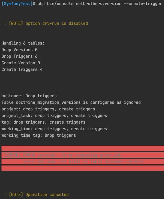 Ausgabe eines Fehlers - NetBrothers VersionBundle